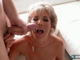 blonde cumshot Short haired mature woman and a bald guy with a beard are having a great fuck time