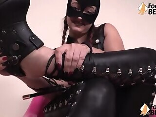 hd  Italian barefoot domme in leather small penis humiliation