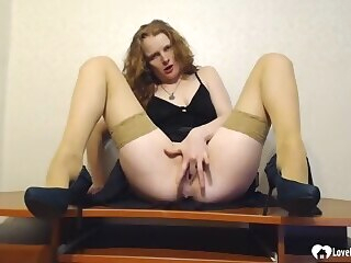 hd  Seductive stepmom in stockings masturbates with a toy